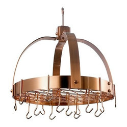 Dome Satin Copper Pot Rack with Grid and  16 Hooks