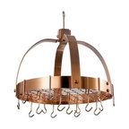 Old Dutch International - Dome Satin Copper Pot Rack w/Grid & 16 Hooks - Whether you're a short-order cook or an iron chef, this pot rack ensures that all your tools of the trade are ready and waiting. Ideal for compact kitchens, it's made of heavy-gauge metal and features 16 hooks.