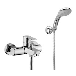 WS Bath Collections - Light Bath/Shower Mixer - Light by WS Bath Collections, Bath / Shower Mixer with Complete Shower Kit, Available in Polished Chrome, Mat Chrome or Stainless Steel Finish, Solid Brass Base, Includes Shower Kit and All Metal Adjustable Wall Hook Single Lever Controls Flow Rate and Temperature Push Button Diverter, Made in Italy