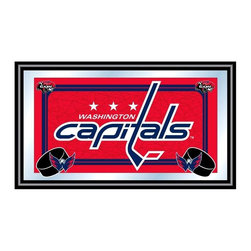 Trademark Global - Framed NHL Washington Capitals Team Logo Mirr - Great for gifts and recreation decor. Mirror with print. Black wrapped wood frames. 26 in. W x 15 in. H (10 lbs.)This National Hockey League Officially Licensed Team Logo Wall Mirror is the perfect gift for the Hockey Fan in your life.