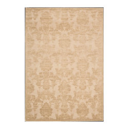 "Nourison - Nourison Graphic Illusions GIL03 2'3"" x 3'9"" Light Gold Area Rug 13310 - A traditional damask design takes a sophisticated stroll on the ultra-chic side thanks to a two-toned raised pattern in shimmering shades of gold. Its distinctive border lends a subtle yet defining contrast. Meanwhile, its high-low loop pile construction and sublime hand carving create the ultimate in touchable textures."