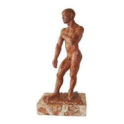 Pre-owned Nude Male Figure Sculpture in Hydro-stone - Sculpture of a strapping nude male figure. The surface of the sculpture is lightly texture, lending an impressionistic feel. The hydro-stone is finished in a rust-brown tone. The base that the figure stands on is faux finished by the artist to give the effect of an older marble base.