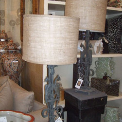 Iron New York Architectural Burlap Drum Shade Lamps - These fabulous lamps are made out of architectural iron railing from a building in New York ... They are adourned with drum shades covered in burlap and ready for new home! $375 for base and shade