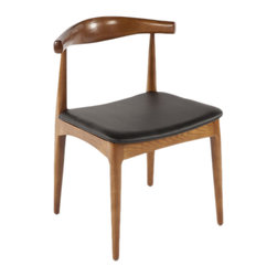None - The Kennedy Side Dining Chair - Inspired by a Hans Wegner design,the Kennedy side chair is made from solid ash hardwood finished with a walnut stain. Comfort is provided by the elliptical back and padded seat covered with a smooth,black polyurethane leatherette.