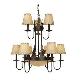 Vaxcel - Yellowstone Indoor Burnished Bronze 31 in. Chandelier - Dimensions: 31 in. W x 31 in. L x 31 in. H.