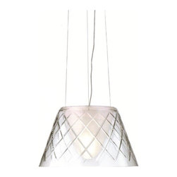 Flos - Flos | Romeo Louis II Pendant Light - Design by Phillipe Starck, 2003.By FLOS.The ceiling suspended Romeo Louis II provides diffused light. Features a blown crystal outer diffuser: hand ground and acid polished transparent glass; and internal diffuser: acid-etched outside and sandblasted inside. Injection-molded transparent polycarbonate (UL-94 V2) diffuser support. Injection-molded (UL-94HB) white ABS canopy, pressed and galvanized internal steel ceiling fitting. Fixture is equipped with 15 feet of support cable and transparent cord that can be field shortened. Available in two sizes.