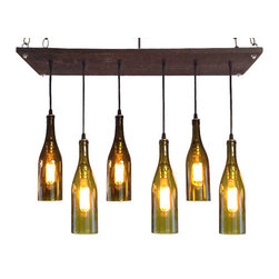 Industrial Lightworks - Wine Bottle Chandelier: Rustic Lighting - 6 Wine Bottle Pendant Chandelier
