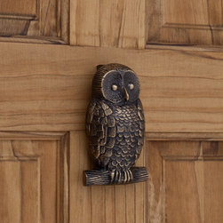 Owl Brass Door Knocker, Antique Brass - For a whimsical touch, try using a brass door knocker on the interior door of a guest bedroom or child's room. This antiqued brass owl would keep watch at night and give a little style to an otherwise unremarkable interior door. I would uniquely display a collection of antique knockers on the outside of all bedroom and bathroom doors in a family home.