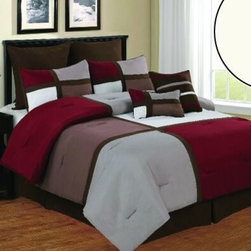 Bed In A Bag - 12pc Luxury Bed in a Bag- Deco Burgundy/ Brown/ Taupe-Queen - This comforter combines a casual look with pure comfort. Please select sheet set color when ordering.  The comforter and pillow shams feature and color blocking design along with pin tucking details for added dimension. If you want to give your room a relaxing feel, this comforter is the set for you. 100% Polyester,  Machine Washable