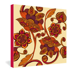 DENY Designs - Valentina Ramos Boho Flowers Gallery Wrapped Canvas - Like an Eastern textile pattern, Valentina Ramos' floral print is created out of overlapping shapes, decorative patterns and swirling lines in the colors of a desert sunset. For a truly bohemian effect, hang this among other mixed floral prints to create an eclectic wall collage.