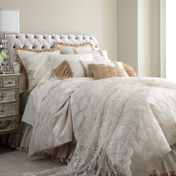 "Dian Austin Villa - Dian Austin Villa Queen Malibu Duvet Cover, 90"" x 95"" - Trimmed with flirty velvet ruffles, ""Malibu"" bedding exemplifies coastal-chic romance with a mix of sea-trellis and mini-scroll patterns, all in a sun-bleached ivory, washed cotton blend. Handcrafted in the USA of imported cotton/polyester by Dian Aust..."