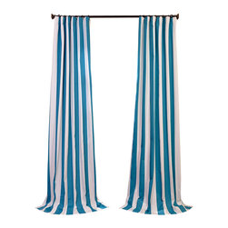 Exclusive Fabrics & Furnishings, LLC - Cabana Teal Printed Cotton Curtain - Window dressing needn't be a formal affair. These awning stripe curtains offer you just the right stroke of color and striking simplicity to compliment your furnishings — from cottage chic to a more modern mode. Simply sit back and enjoy the view.