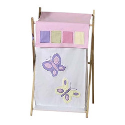 "Sweet Jojo Designs - Butterfly Pink & Lavender Hamper - The Butterfly Pink & Lavender Hamper by Sweet Jojo Designs will add a designers touch to any childs room. This childrens laundry clothes hamper has a wooden frame, mesh liner, and a fabric cover.The removable hamper body is secured to the wooden frame with corner loops and Velcro. The wooden stand folds flat for space-saving storage and the removable mesh liner is great for toting laundry.Dimensions: 15.5"" Length x 16"" Width x 26.5"" Height.If you like the Butterfly Pink & Lavender Hamper Hamper, dont forget to check out the other items in the collection."