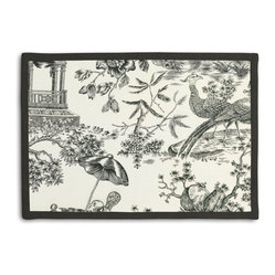 Black & White Asian Toile Tailored Placemat Set - Class up your table's act with a set of Tailored Placemats finished with a contemporary contrast border. So pretty you'll want to leave them out well beyond dinner time! We love it in this black & white oriental toile on soft ivory linen. in this timeless color pairing, this motif can range from traditional to modern--your choice!