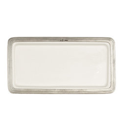Arte Italica - Tuscan Medium Rectangular Tray - This elegant tray elevates your dinner-party service. Colorful entrees are sure to stand out even more against the soft appearance of the ceramic surface, while the character-rich border adds an intriguing sense of history to your table.