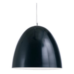 "Nuevo Living - Dome Pendant Lamp, Black/Small - If ""Keep it simple"" is your style mantra, this powder-coated aluminum fixture is ideal for lighting up your favorite modern setting."