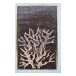 "Natural Impressions:  Coral, Original, Painting - ""Natural Impressions: Coral is a wonderful combination of an """"impressed"""" coral image with a """"raised"""" coral in front of it, painted and stained to look three dimensional and sculptural.  The painting is mounted in a blond wood frame with a distressed finish and gold leaf molding.    Natural Impressions are fossil-like creations, which capture, explore and amplify the relationships within the organic world.  They are an aesthetic journey into the past,  and I hope the viewer sees them as a road to rediscovering and celebrating the wonders of nature which remain as vital as ever.  Natural Impressions are portraits of things found in the organic world, a magnified slice of nature presented in an artistic expression to resemble ancient fossils and artifacts.  The artwork is created by actually """"impressing"""" materials into plaster and artist gels, and then painting and staining them to show color and age.  In many ways they resemble the clay and stone artifacts seen in natural history museums, but they also contain the abstraction and beauty in the world around us. """