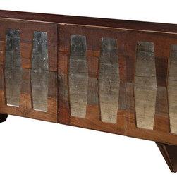 Berlin Reclaimed Wood 4 Door Console - Reclaimed Wood Four Door Berlin Console