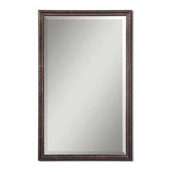 Uttermost - Uttermost 14442 B Renzo Distressed Bronze Vanity Mirror - Distressed Bronze w/ Gold Leaf Highlights