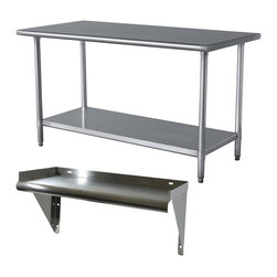 Buffalo Tools - Sportsman Series Stainless Steel Table and Shelf Set - Stainless Steel Table and Shelf Set by Sportsman Series The Sportsman Series Stainless Steel Table and Shelf Set are the perfect addition to your kitchen, garage, or basement. Use in the garage for weekend hobbies and honey-do's.  Both items feature curved edges to help prevent injuries from accidental bumping. The brushed stainless steel finish is easy to clean and offers an  attractive contemporary design. The Work Table has a smooth 24 x 48 inch work surface large enough to complete most arts and crafts projects and food prep so you can get your work finished faster. The 35 inch height is ideal for cooking and working without making your back ache. An adjustable galvanised metal shelf fits under the table and provides additional storage space for supplies.  The Work Shelf offers a 24 x 12 inch surface that provides additional storage space for supplies. Raised edges on three sides keeps items on the shelf and off the floor.   Tabletop and shelf constructed of 18 gauge 420 stainless steel with curved edges for safety Easy to assemble Table measures: 48 in.L x 24 in.W x 35 in. H, max weight capacity 330 lbs.,adjustable galvanized metal shelf, maximum weight capacity of 330 lbs. Shelf measures: 24 in.L x 12 in.W x 6 in. H, raised edges on three sides keeps items on the shelf and off the floor, maximum weight capacity 132 lbs.