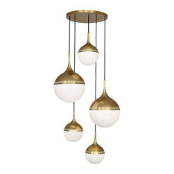 """Jonathan Adler - Contemporary Jonathan Adler Rio 27"""" Wide Antique Brass Chandelier - 5-light globe chandelier. Antique brass finish. Five round shades in white emanate diffused light. Adjustable extension from ceiling for a bespoke look. Includes long fabric wrapped cords for each globe for varying heights. Three maximum 40 watt and two maximum 60 watt or equivalent bulbs (not included). Includes 12 feet of leadwire. 27"""" wide. Adjustable height. Each globe comes with 11-feet of cord. Canopy is 16 3/4"""" wide. Two large globe shades are 18 3/4"""" wide. Three small globe shades are 12"""" wide.   5-light globe chandelier.  Antique brass finish.  Five round shades in white emanate diffused light.  Adjustable extension from ceiling for a bespoke look.  Includes long fabric wrapped cords for each globe for varying heights.  Three maximum 40 watt and two maximum 60 watt or equivalent bulbs (not included).  Includes 12 feet of leadwire.  27"""" wide.  Adjustable height.  Each globe comes with 11-feet of cord.  Canopy is 16 3/4"""" wide.  Two large globe shades are 18 3/4"""" wide.  Three small globe shades are 12"""" wide."""