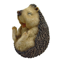 EttansPalace - 5 Wide Cute Spiny Laughing Hedgehog Garden Statue: Small - Our cute hedgehog statue will steal your heart he's so adorable you'll want to give him a hug &but don't! This-exclusive hedgehog statue is a bit prickly in quality designer resin, fully hand-painted with superior detail from adorable face to spiny body! Another quality garden animal statue from! 5Wx5Dx6 H. 1 lb.