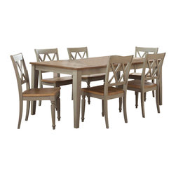 Liberty Furniture - Liberty Furniture Al Fresco 7 Piece 74x40 Dining Room Set w/ 6 X-Back Side Chair - Al Fresco or dining in the outdoors brings to mind an open air natural feel. Al Fresco Casual Dining is a fresh approach to a casual rustic style. Two tone finish with tops of the tables in driftwood and the base in a taupe finish. Tops feature planked design with round/square peg accents. Tapered block legs carry the casual rustic theme of the group. Butterfly leaf square counter table has a pedestal storage base with a storage drawer and top shelving. What's included: Dining Table (1), Side Chair (6).