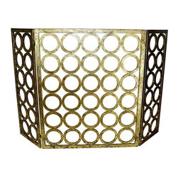 "Gold Circle Design Fireplace Fire Screen - Italian Gold Circle Design Three Panel Fire Screen Hand crafted by master craftsmen from iron. Hand-finished in a multi-step process 50.5"" wide/.75"" deep/32"" tall Weight: 19 pounds 10 ounces."