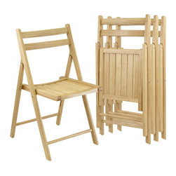 Winsome - Winsome 4 Piece Folding Chair Set in Beech Finish - Winsome - Folding Chairs - 89430 -