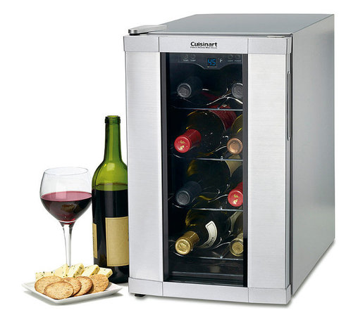Frontgate - Private Reserve 8-Bottle Wine Cellar - Holds up to eight bottles. Thermoelectric cooling system reduces noise and vibration. Temperature ranges from 39 to 68 degrees Fahrenheit. Electronic touchpad allows for precise temperature control with blue LED display. Low energy consumption. The Cuisinart Private Reserve Wine Cellar is the compact solution for wine storage. By maintaining the ideal storage temperature, this wine cellar ensures that up to eight bottles of wine preserve their signature bouquet, flavor and body. Use the electronic touchpad to set the preferred temperature and the thermoelectric cooling system holds the temperature quietly and efficiently. An attractive stainless finish ensures any wine collection is displayed in style.  .  .  .  .  . Soft interior lighting with on/off control . Four chrome contoured wine racks . Double-pane viewing window . Adjustable feet . Limited 3-year warranty . BPA-free .