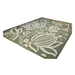 "Safavieh - Courtyard Green/Brown Area Rug CY2961-1E06 - 6'7"" x 9'6"" - Safavieh takes classic beauty outside of the home with the launch of their Courtyard Collection. Made in Belgium with enhanced polypropylene for extra durability, these rugs are suitable for anywhere inside or outside of the house. To achieve more intricate and elaborate details in the designs, Safavieh used a specially-developed sisal weave."