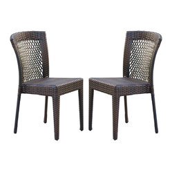 Great Deal Furniture - Fontano Outdoor Dusk Wicker Chairs (Set of 2) - Features :