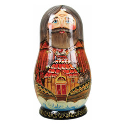 "Artistic Wood Carved Russian Matreshka Noah's Ark Doll Sculpture - Measures 9""H x 5""L x 4""W and weighs 2 lbs. Carefully open this Matreshka doll in the middle to reveal a whole collection of hidden treasures. Each ornament tells a story and are freehand painted in rich colors. Each piece was created in the art villages of Russia to our exacting standards for a lifetime of beautiful memories. The adorable hand painted ornament dolls make a great gift and/or collectible. This Russian Matreshka doll has ornaments inside that were beautifully handmade by a Russian artist. Each ornament inside the doll tells a story and are freehand painted in rich colors."