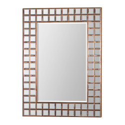 Uttermost - Art Decor Mirror Inlaid Into Wood Frame Gold Copper Sheeting Decor - Brown art decor beveled mirror inlaid into a wood frame covered in gold and copper sheeting accents home accent decor