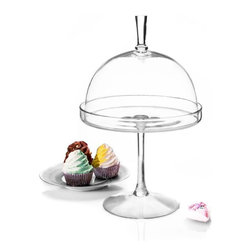 """Godinger Silver - Glass Footed 15 Domed Cake Pedestal - Create a sensational dessert buffet with our impressive glass footed domed pedestal. The perfect way to showcase your special dessert or cheese section, our classic yet contemporary cakes stand creates a beautiful presentation while leaving a lasting your guests with a lasting impression. This clear glass set includes a generously sized cake plate on a slim yet sturdy stem topper that acts as a handle. Present this shimmering cake stand as your wedding centerpiece  or present as a hostess gift she will enjoy filling with backed confections for year to come!   *  Dimensions: L: 10""""  H: 15"""" W: 10"""""""