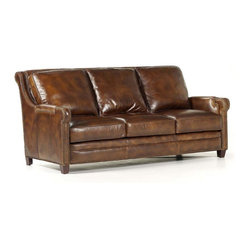 Randall Allan - Easton Sofa - This hardworking sofa is just the thing for all you industrious types. The solid wood frame is wrapped in plush foam and covered in two-tone tobacco leather. Outlined in nailhead trim, it's the perfect perch for your traditional, industrial or modern space.