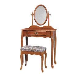 "ADAD526-OAK - 3-Piece Oak Finish Wood Vanity Set with Vanity Table, Mirror and Bench - 3-piece oak finish wood vanity set with vanity table, mirror and bench. Includes vanity table measuring 28"" x 16"" x 50.5"". Including mirror, vanity stool measuring 18"" x 14"" x 17.25"". Some assembly is required."