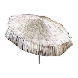 DestinationGear - Palapa Tiki Umbrella 6 ft, Silver, Patio - Turn up the Island sounds and get out of the sun with this high quality, well-appointed product from DestinationGear. A strong a sturdy aluminum frame provides the mechanical advantage of the umbrella.  A 6 foot diameter span with 3-position tilt provides lots of shade to help keep the drinks cool on a sunny day in your yard, around the pool or at the beach. The staggered polypropylene material is UV resistant and holds its color for years.