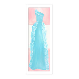 "Doodlefish - Aquamarine Dress in White Frame - Our beautiful Aquamarine Dress artwork comes as a Stretched Canvas or as a mounted piece of artwork in your choice of frames.  The beautiful blue ruffled gown features a modern pink striped background.    The artwork is 12"" x 36 as a stretched canvas.  With the frame, the finished size is approximately 14"" x 40""."