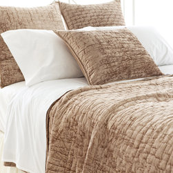 Pine Cone Hill - PCH Matte Velvet Taupe Quilt - A decadent and unbelievably soft fabric, the Matte Velvet Taupe quilt is created through a fusion of bamboo-derived viscose and cotton. Give bedding a touch of luxury with this plush, textured design by PCH. Available in full/queen and king sizes; 60% viscose/40% cotton; Self piping; Insert not included; Designed by Pine Cone Hill, an Annie Selke company; Machine wash cold, hang to dry