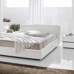 """Made in Italy Leather Bedroom Design with Extra Storage - Modern white crocodile leather bedroom set. The bed is upholstered with White Kaiman Leather. Nightstands and Dresser are from """"Domino"""" collection."""