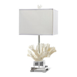 Kathy Kuo Home - Cozumel Coastal Beach White Mitten Coral Crystal Table Lamp - A bit of undersea beauty, usually reserved for scuba divers, can grace an end table or shelf in your home. Uniquely textured, the white coral contrasts with the smooth, clear crystal base. A rectangular white shade is the finishing touch to this modern masterpiece.