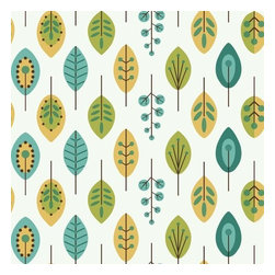 York Wallcoverings - York Wallcoverings KB8528 Retro Leaves Wallpaper - This archival pattern brings the 1970's love of graphic design and contemporary form to today�s decor with an update of classic mid sized leaves and budding stems. Pared to its simplest form, and placed in linear rows in bright color combinations and metallic, these organic shapes become modern art for the walls. One measure of good fun; a dash of retro revival; sprinkle in today�s color palette-Blend to taste!Features: