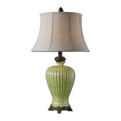 Uttermost - Morbello Antique Green Table Lamp - Pistachio isn't just for nuts. It's the in color with decorators and you can see why. This crackled antiqued green ceramic lamp has rust distressing and chocolate bronze details. It's perfect for a little corner in your room that could use a facelift.