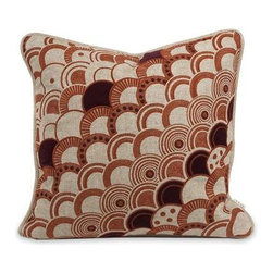IK Haliea Embroidered Pillow with Down Insert - With deep amber and red embroidery, the Haliea down fill pillow has a natural linen color and is designed by Iffat Khan.