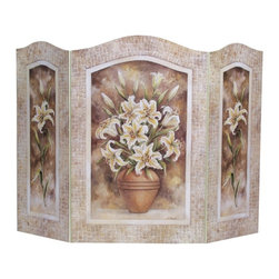 "Stupell Industries - Lily Flower 3 Panel Decorative Fireplace Screen - Decorative and functional. Made in USA. Original Stupell art. 44 in. W x 31 in. H (Approx.). 0.5 in. ThickA fireplace screen from ""The Stupell Home decor Collection"" will be the focal point of any room and the beautiful color and design will immediately enhance your hearth and it's surroundings. Both functional and decorative, this one of kind screen will keep your fireplace out of sight when it's not in use. This piece is handcrafted from original artwork by English muralist Julie Perren. A lithograph is laminated on sturdy 1/2'' thick mdf fiberboard and the sides are hand painted. The item is already assembled in the box and ready to be put in front of the fireplace. Made in USA."