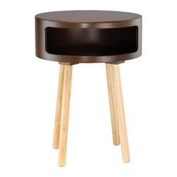 """Adesso Inc. - Collins Accent Table - Walnut round bent plywood table with four round natural wood legs. The table top's wide opening provides lots of room for storage, while serving as a great decorative accent or end table. 22"""" Height, 16"""" Diameter. Table top: 6"""" Height (Front opening: 4"""" Height, 13"""" Width). Legs: 15.75"""" Height, 1.25"""" Diameter."""
