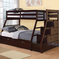 "Acme Furniture - Twin/Full Bunk Bed in Espresso - Twin/Full Bunk Bed in Espresso; Finish: Espresso; Dimensions: 98"" x 56"" x 65""H"
