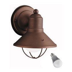 Kichler Lighting - Kichler 7-1/2-Inch Nautical Outdoor Wall Light with LED Bulb - 9021OZ/ 8W  LED - This sleek conical outdoor wall light features an olde bronze finish over aluminum, making it an attractive and durable outdoor light source. Enhancing the marine look is a cage-like structure, which also protects the bulb. Included is an energy savings LED bulb which lasts up to last 6 times longer than compact fluorescent bulbs and 35 times longer than an incandescent. Features a medium base with white diffuser and vented heat sink. Takes (1) 9.5-watt LED A19 bulb(s). Bulb(s) included. UL listed. Wet location rated.