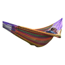 "Sunnydaze Decor - XXL Thick Cord Mayan Hammock, Multi-Colored - Overall Length 13'1"" x Width 7'6"" Dimensions of the bed itself is 6'7"" in length and 7'6"" in width Maximum Carrying Capacity: 880 lbs"